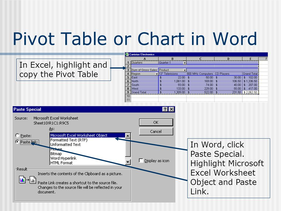Pivot Table or Chart in Word In Excel, highlight and copy the Pivot Table In Word, click Paste Special. Highlight Microsoft Excel Worksheet Object and