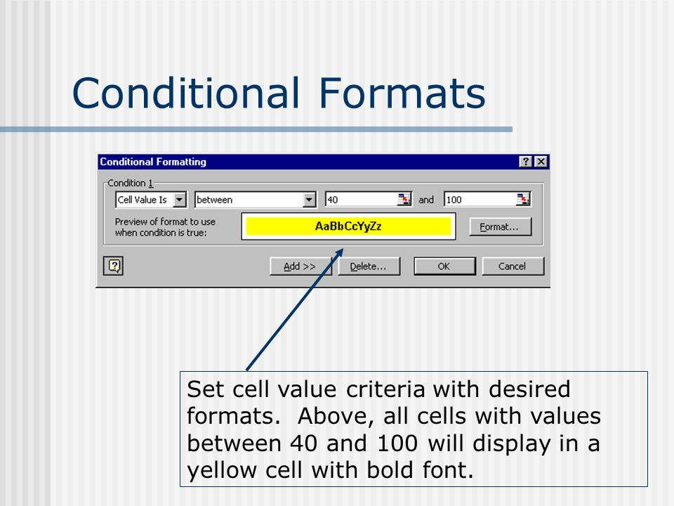Conditional Formats Set cell value criteria with desired formats. Above, all cells with values between 40 and 100 will display in a yellow cell with b