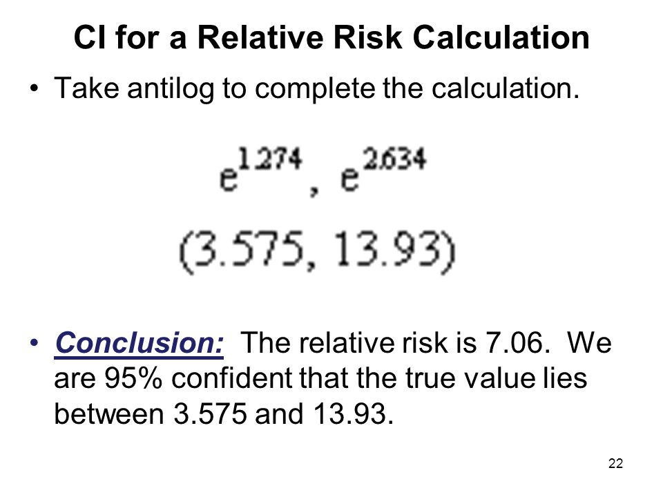 CI for a Relative Risk Calculation Take antilog to complete the calculation.