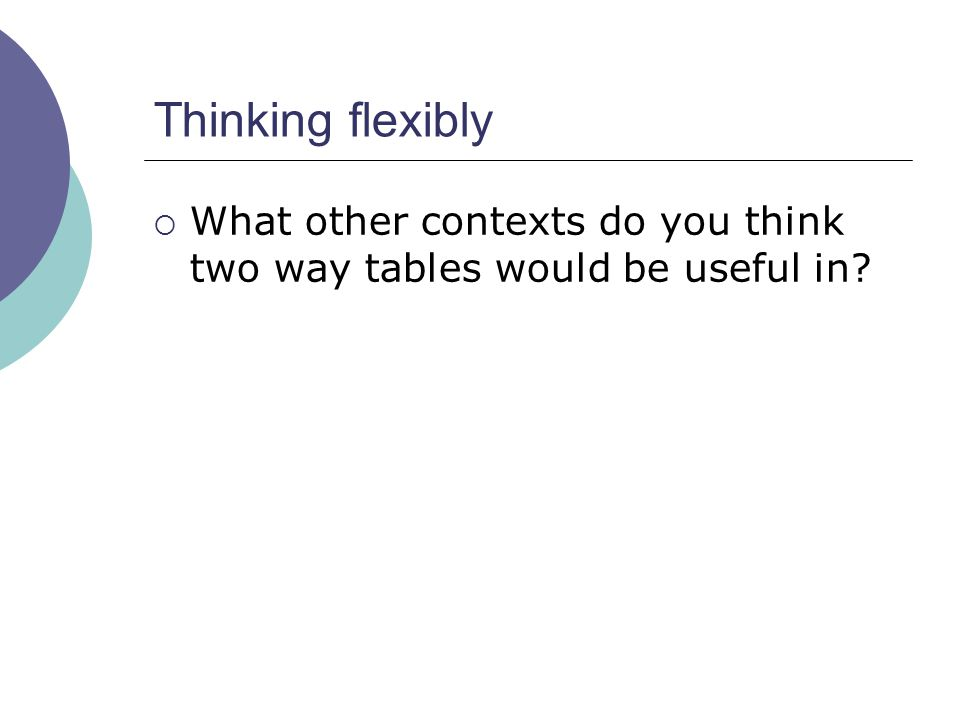 Thinking flexibly What other contexts do you think two way tables would be useful in?