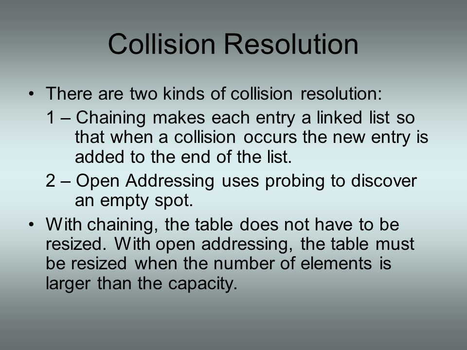 Collision Resolution - Chaining With chaining, each entry is the head of a (possibly empty) linked list.