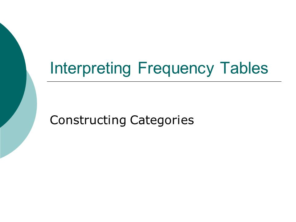 Interpreting Frequency Tables Constructing Categories