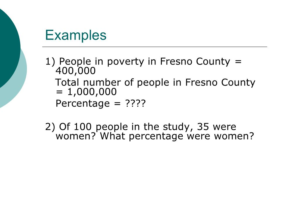 Examples 1) People in poverty in Fresno County = 400,000 Total number of people in Fresno County = 1,000,000 Percentage = .