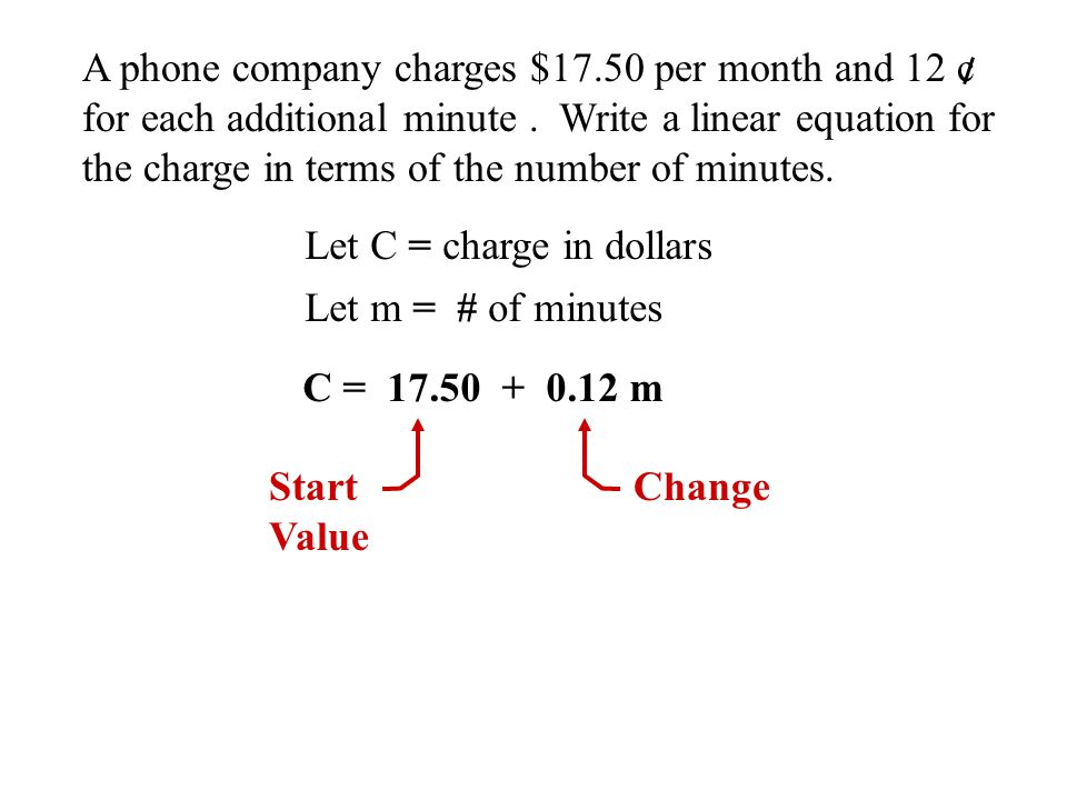 m Let m = # of minutes Let V = Volume of gas in tank V = 5 + 1.6m V 0 2 4 6 8 10 5 8.2 11.4 14.6 17.8 21 30 25 20 15 10 5 Line is continuous A cars fuel tank is filled at a rate of 1.6 gal/min.