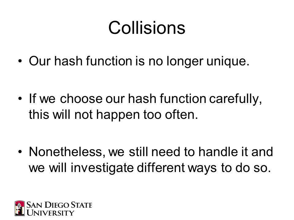 Collisions Our hash function is no longer unique.