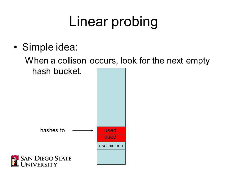 Linear probing Simple idea: When a collison occurs, look for the next empty hash bucket.