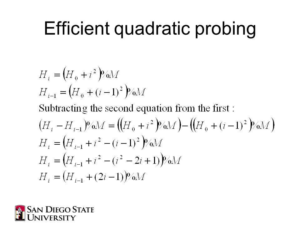 Efficient quadratic probing
