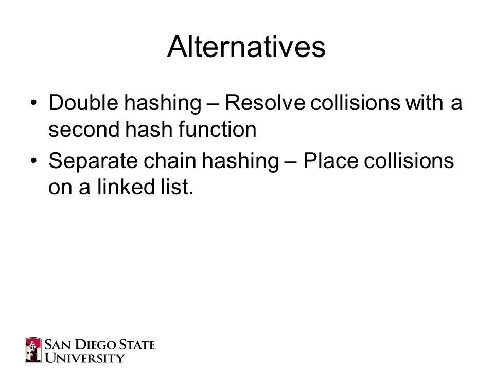 Alternatives Double hashing – Resolve collisions with a second hash function Separate chain hashing – Place collisions on a linked list.