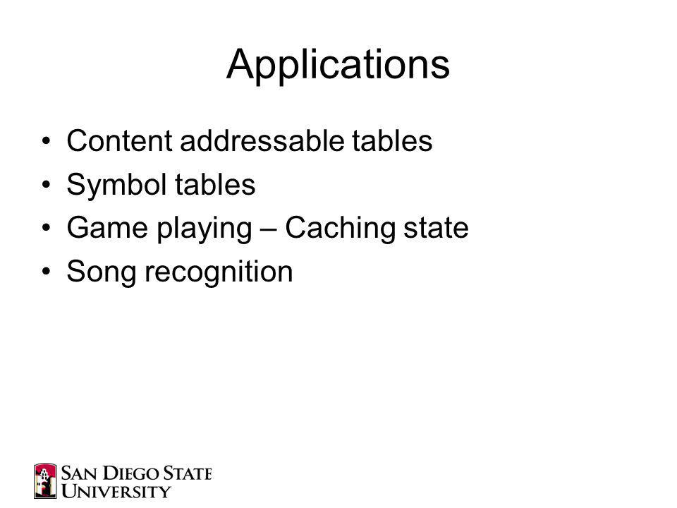 Applications Content addressable tables Symbol tables Game playing – Caching state Song recognition