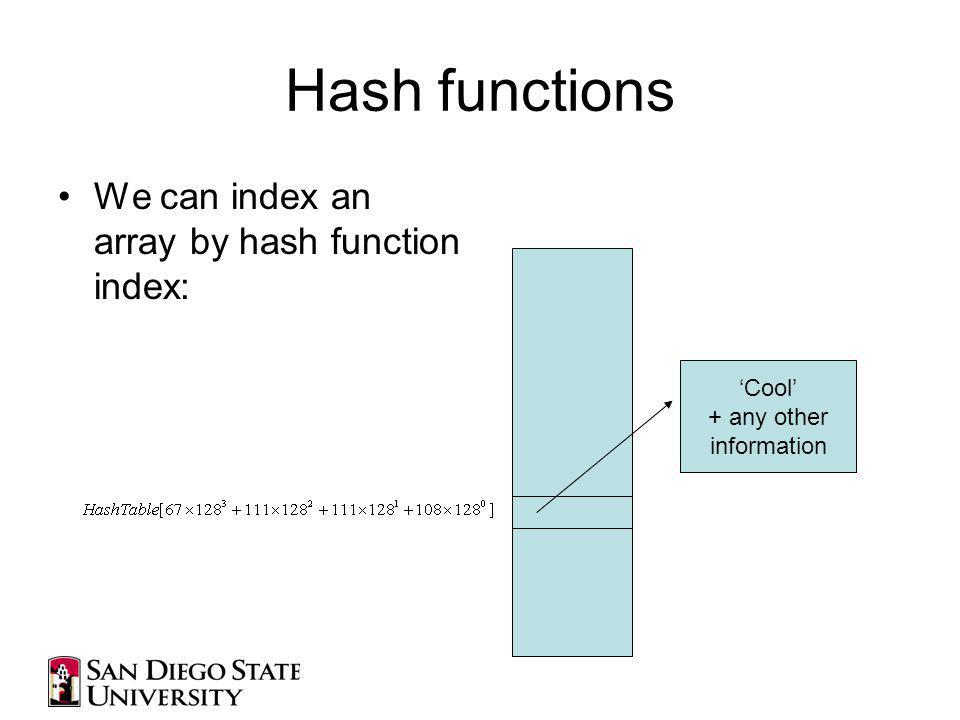 Hash functions We can index an array by hash function index: Cool + any other information