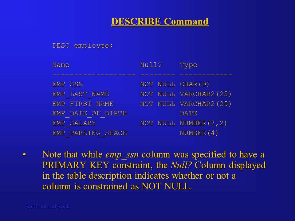 Bordoloi and Bock DESCRIBE Command DESC employee; Name Null.