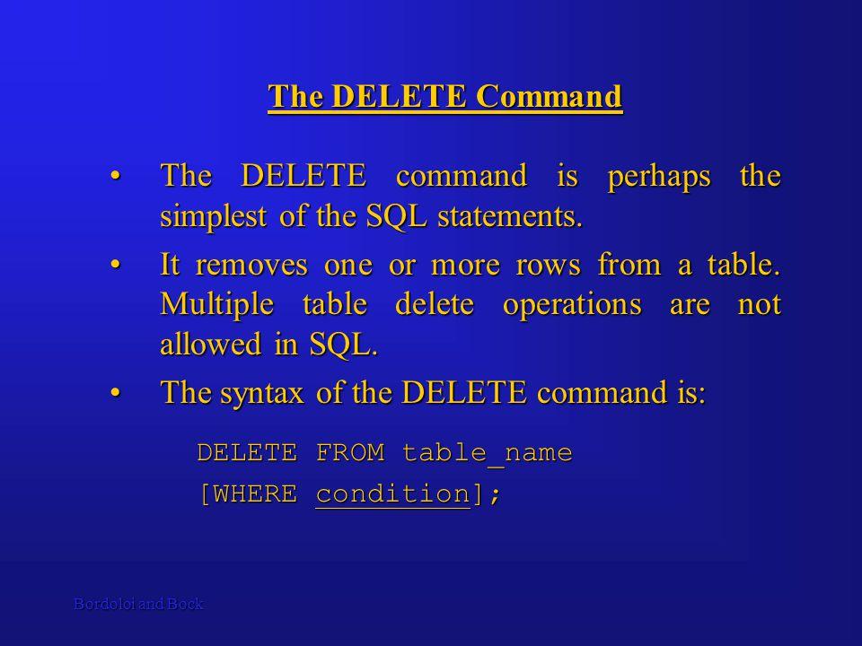Bordoloi and Bock The DELETE Command The DELETE command is perhaps the simplest of the SQL statements.The DELETE command is perhaps the simplest of the SQL statements.
