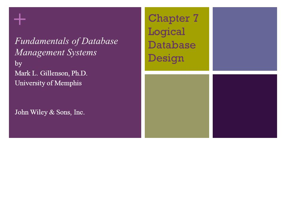 + 7-11 Chapter Objectives Describe the concept of logical database design.