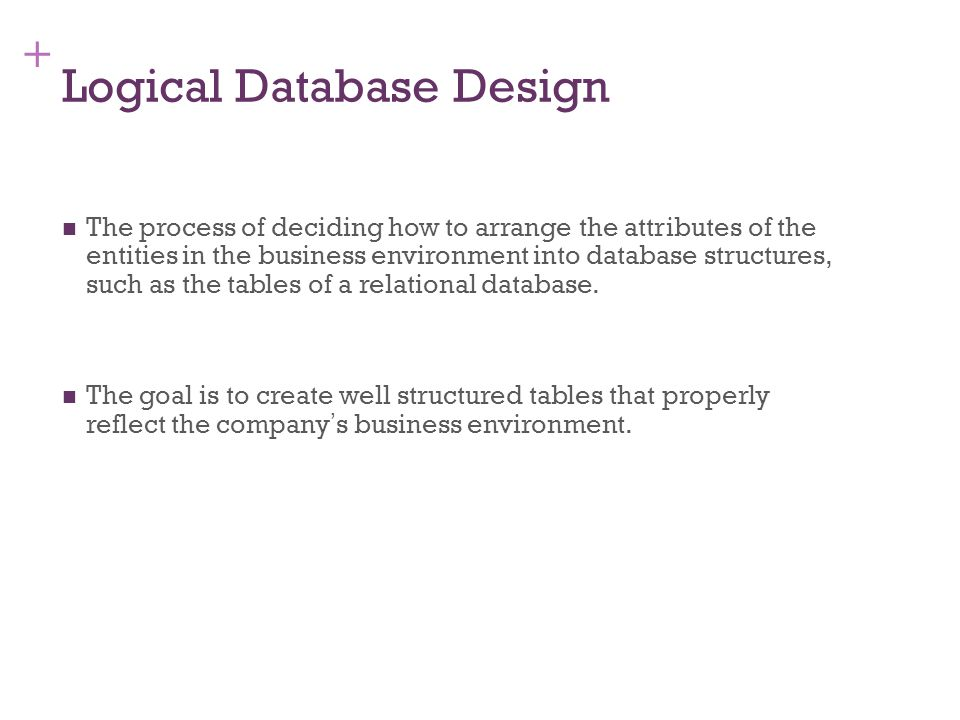 + 7-14 Logical Design of Relational Database Systems (1) The conversion of E-R diagrams into relational tables.