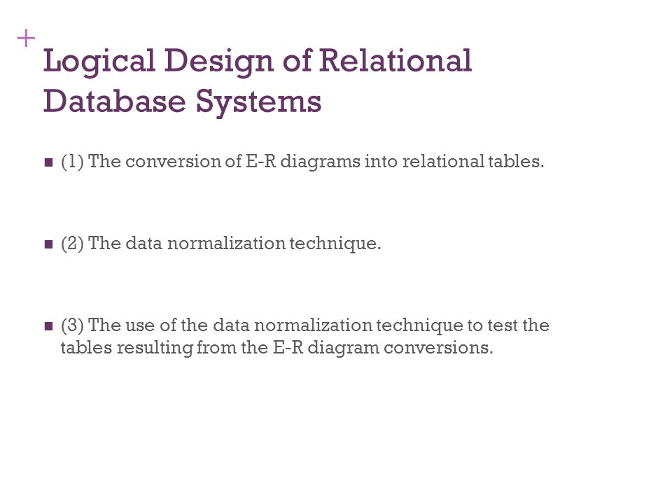 + 7-15 Converting E-R Diagrams into Relational Tables Each entity will convert to a table.