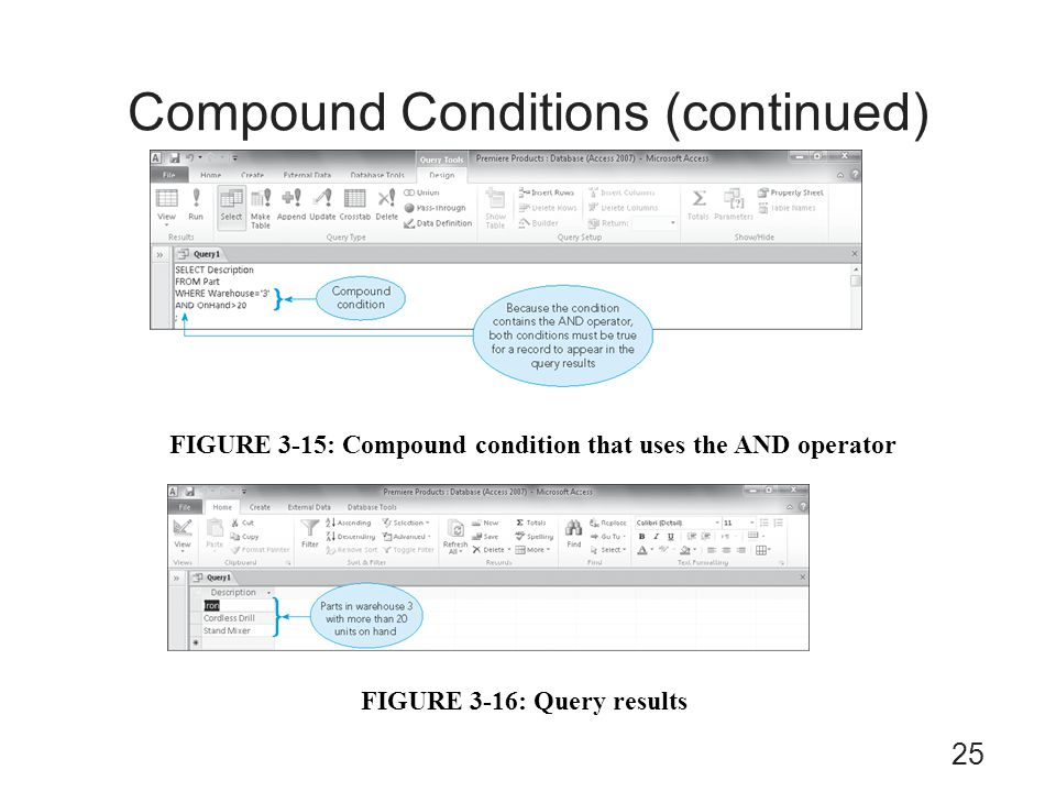 Compound Conditions (continued) FIGURE 3-16: Query results FIGURE 3-15: Compound condition that uses the AND operator 25