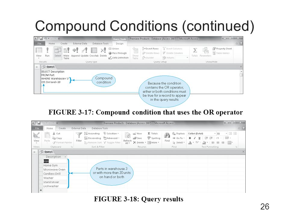 Compound Conditions (continued) FIGURE 3-18: Query results FIGURE 3-17: Compound condition that uses the OR operator 26