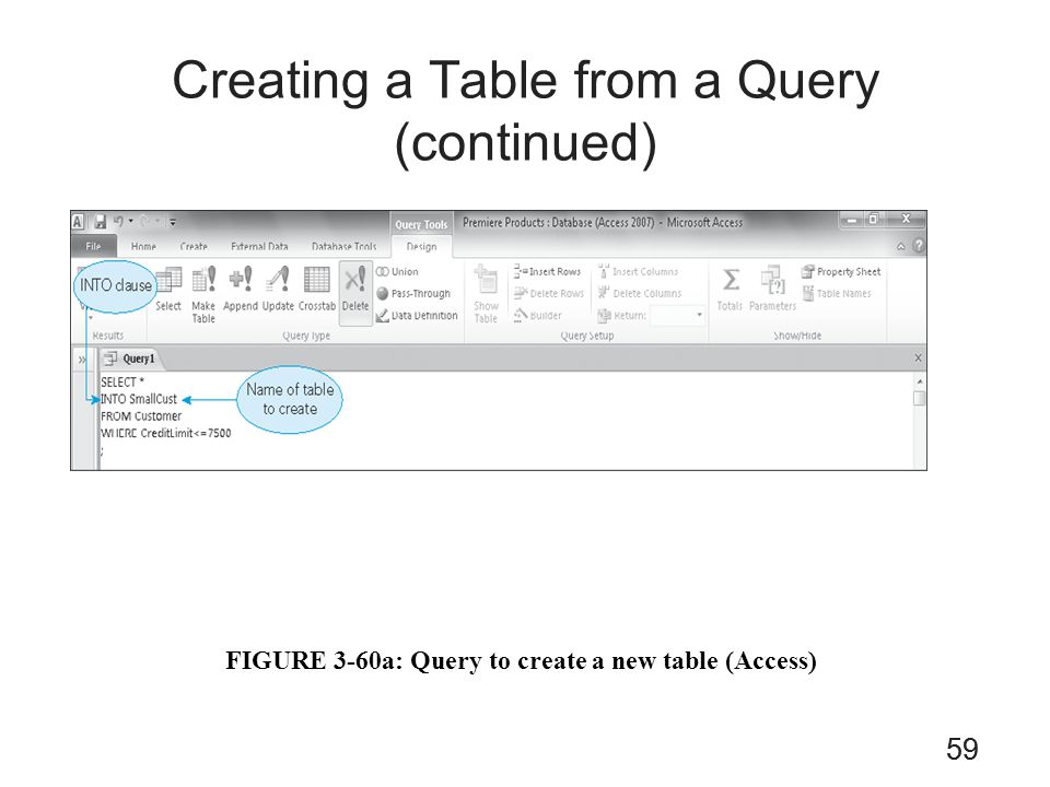 59 Creating a Table from a Query (continued) FIGURE 3-60a: Query to create a new table (Access) 59