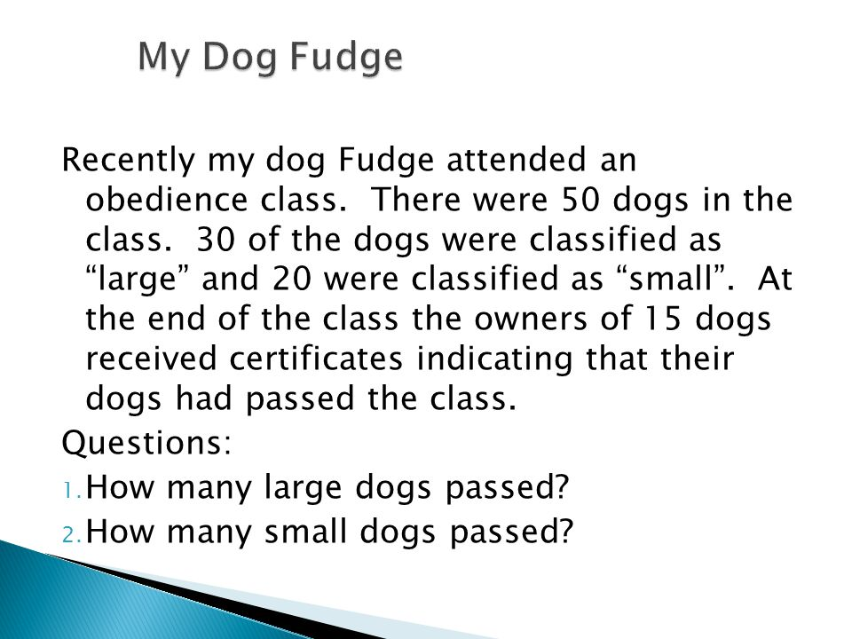 Recently my dog Fudge attended an obedience class.