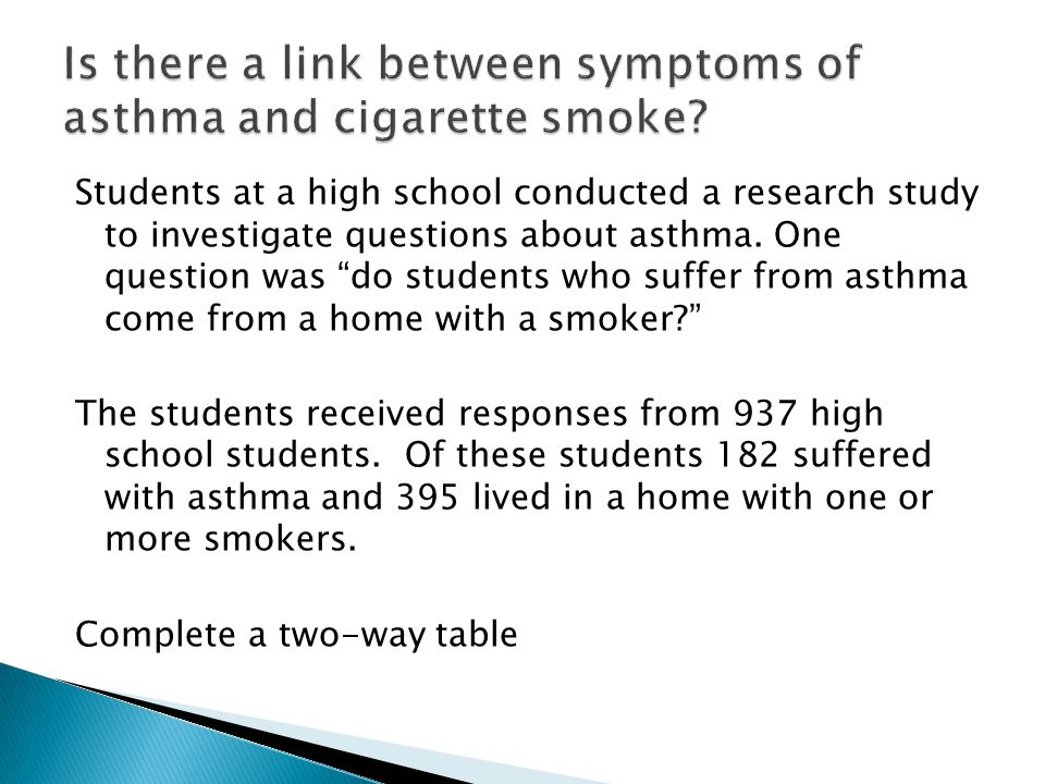 Students at a high school conducted a research study to investigate questions about asthma.