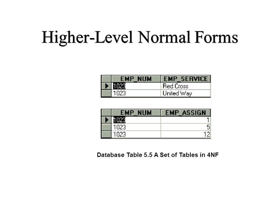 Higher-Level Normal Forms Database Table 5.5 A Set of Tables in 4NF