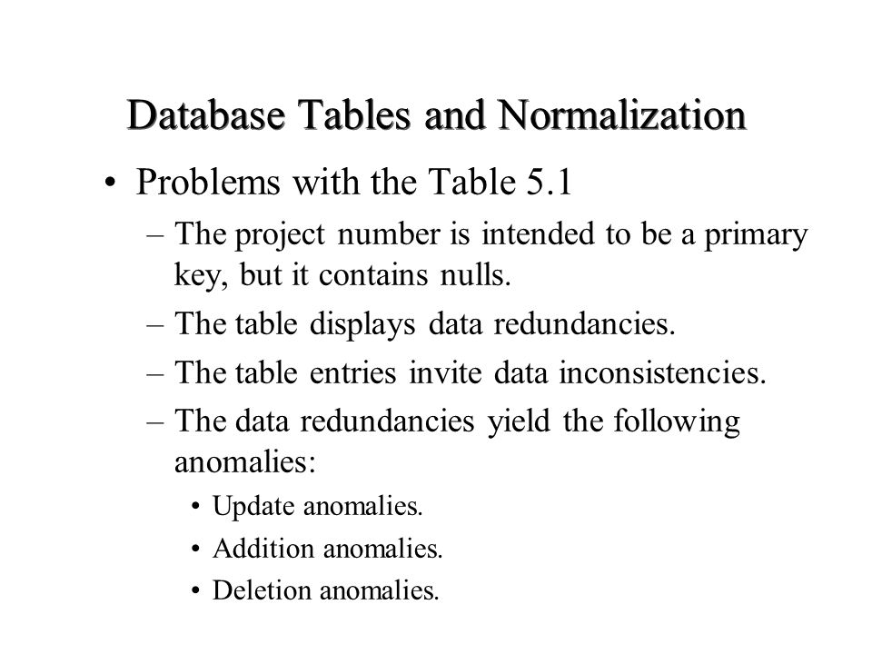 Database Tables and Normalization Problems with the Table 5.1 –The project number is intended to be a primary key, but it contains nulls. –The table d