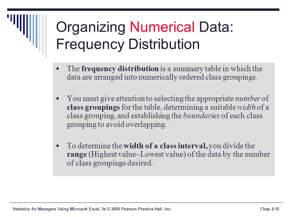 Statistics for Managers Using Microsoft Excel, 5e © 2008 Pearson Prentice-Hall, Inc.Chap 2-10 Organizing Numerical Data: Frequency Distribution The fr