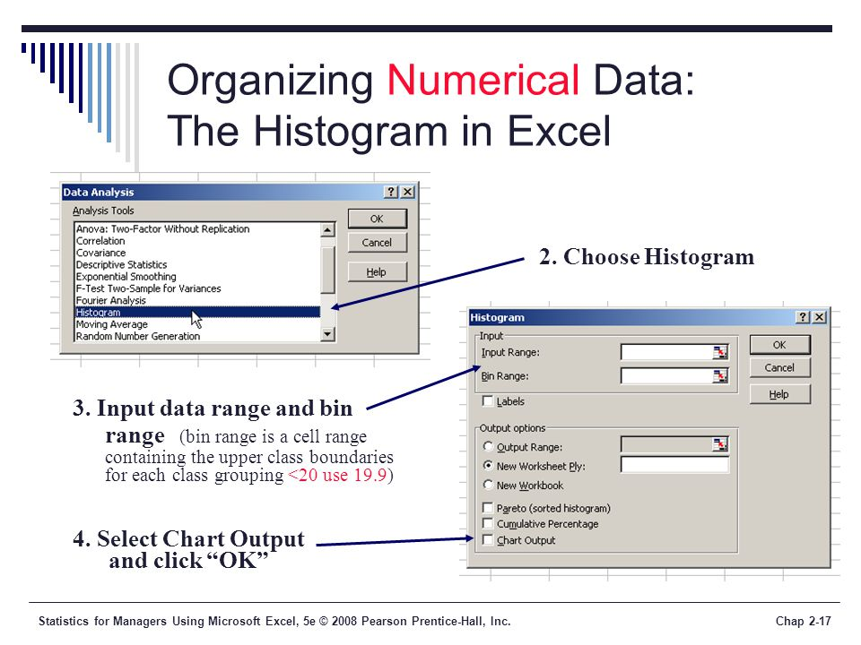 Statistics for Managers Using Microsoft Excel, 5e © 2008 Pearson Prentice-Hall, Inc.Chap 2-17 Organizing Numerical Data: The Histogram in Excel 2. Cho