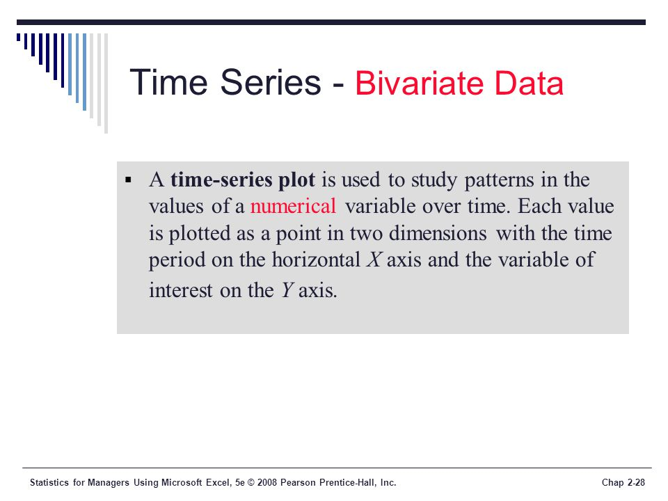 Statistics for Managers Using Microsoft Excel, 5e © 2008 Pearson Prentice-Hall, Inc.Chap 2-28 Time Series - Bivariate Data A time-series plot is used to study patterns in the values of a numerical variable over time.