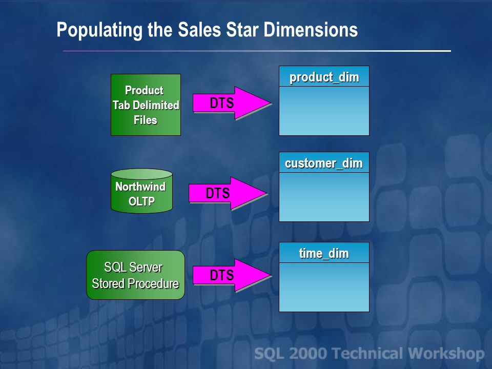 Using DTS to Populate the Sales Star Populating the Sales Star Dimensions Populating the Sales Star Fact Table