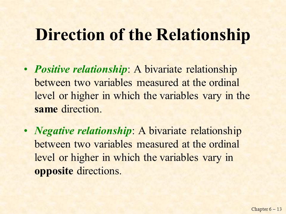 Chapter 6 – 13 Direction of the Relationship Positive relationship: A bivariate relationship between two variables measured at the ordinal level or hi
