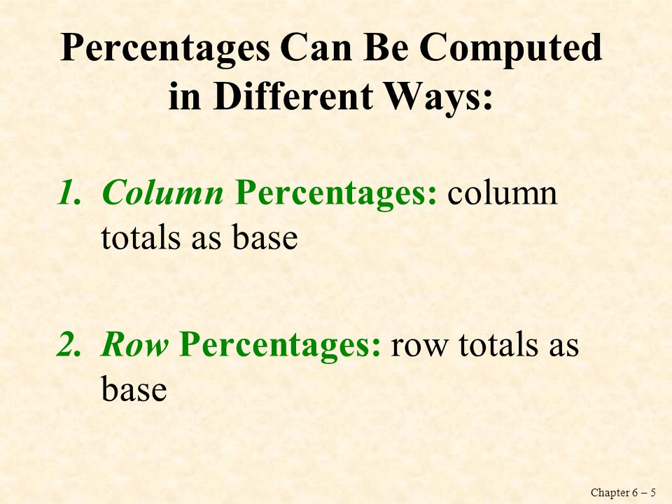 Chapter 6 – 5 Percentages Can Be Computed in Different Ways: 1.Column Percentages: column totals as base 2.Row Percentages: row totals as base