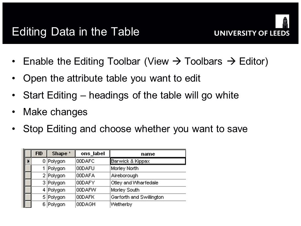 Editing Data in the Table Enable the Editing Toolbar (View Toolbars Editor) Open the attribute table you want to edit Start Editing – headings of the table will go white Make changes Stop Editing and choose whether you want to save 12