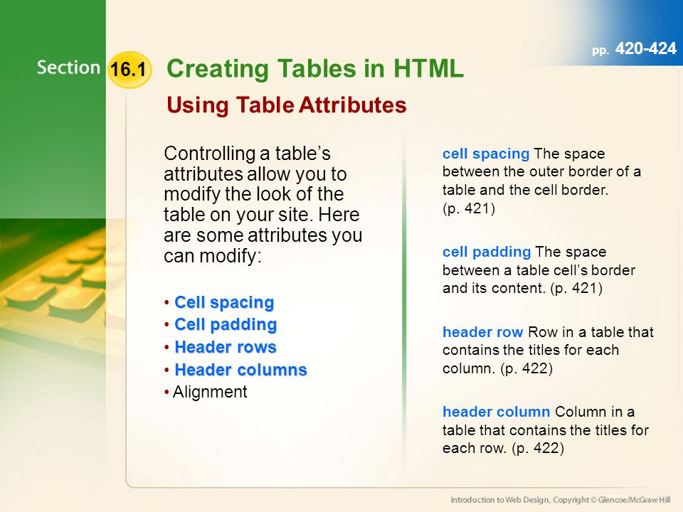 Creating Tables in HTML Using Table Attributes Controlling a tables attributes allow you to modify the look of the table on your site.