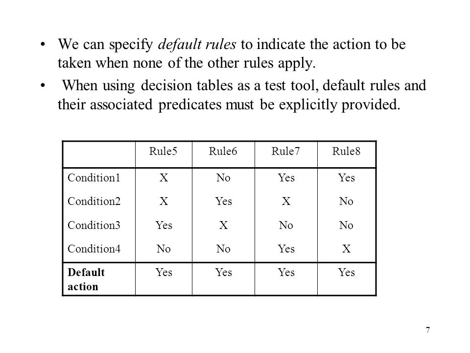 7 We can specify default rules to indicate the action to be taken when none of the other rules apply. When using decision tables as a test tool, defau