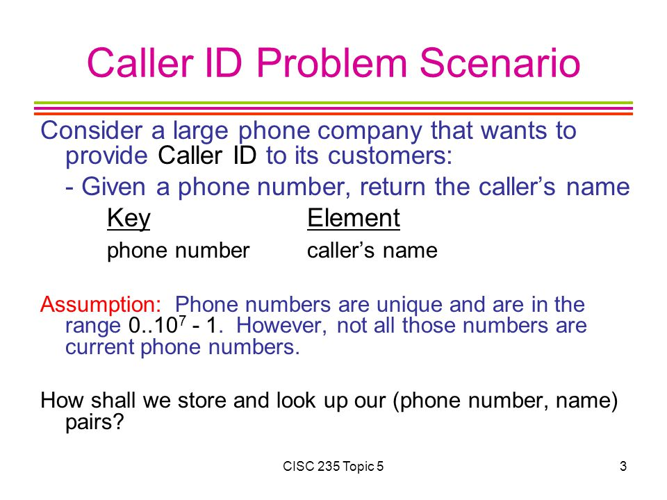 Caller ID Solutions Let u = number of possible key values: 10 7 Let k = number of phone/name pairs 1.Use a linked list Time Analysis (search, insert, delete): Space Analysis: 2.Use a balanced binary search tree Time Analysis (search, insert, delete): Space Analysis: CISC 235 Topic 54
