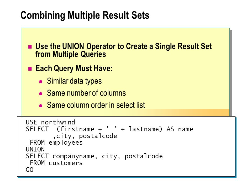 Combining Multiple Result Sets Use the UNION Operator to Create a Single Result Set from Multiple Queries Each Query Must Have: Similar data types Same number of columns Same column order in select list USE northwind SELECT (firstname + + lastname) AS name,city, postalcode FROM employees UNION SELECT companyname, city, postalcode FROM customers GO USE northwind SELECT (firstname + + lastname) AS name,city, postalcode FROM employees UNION SELECT companyname, city, postalcode FROM customers GO