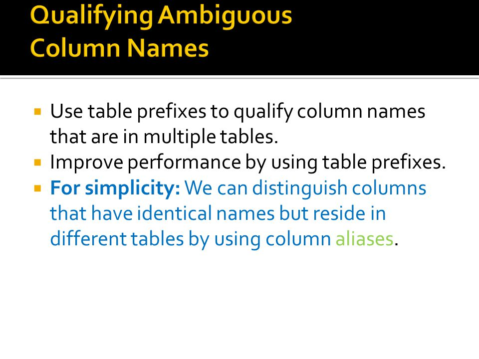 Use table prefixes to qualify column names that are in multiple tables.