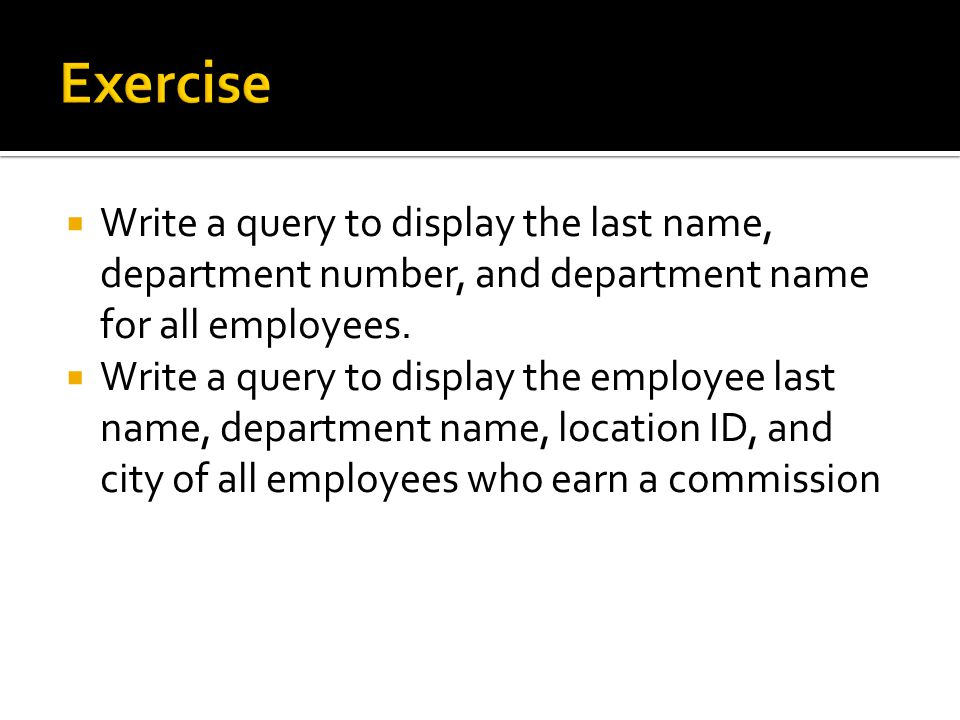 Write a query to display the last name, department number, and department name for all employees.
