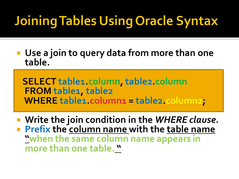 Use a join to query data from more than one table.