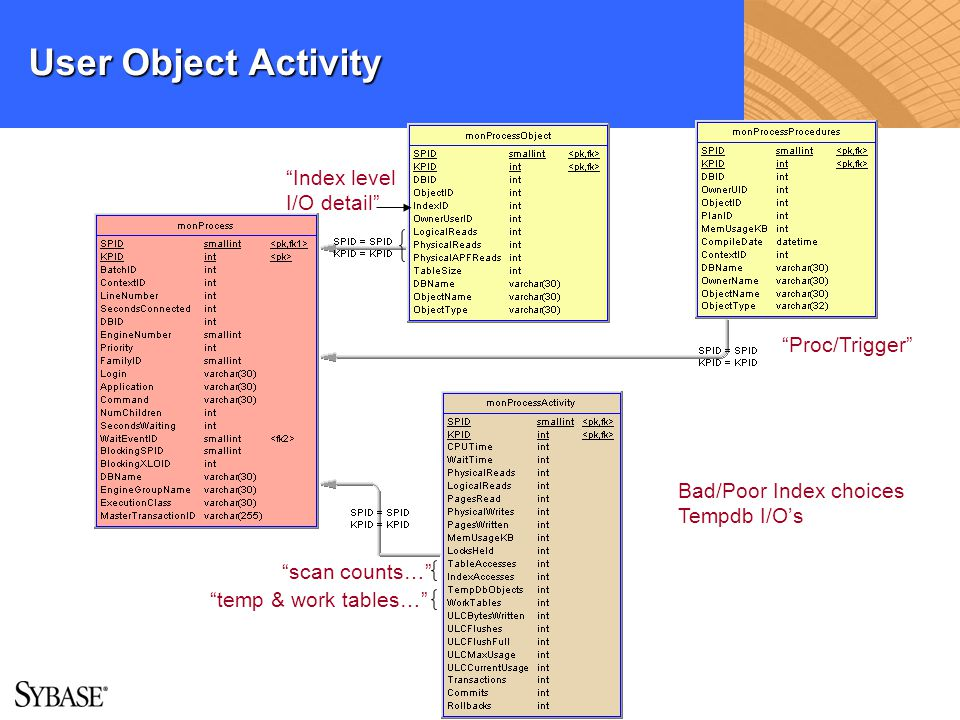 User Object Activity Index level I/O detail Proc/Trigger temp & work tables… scan counts… Bad/Poor Index choices Tempdb I/Os