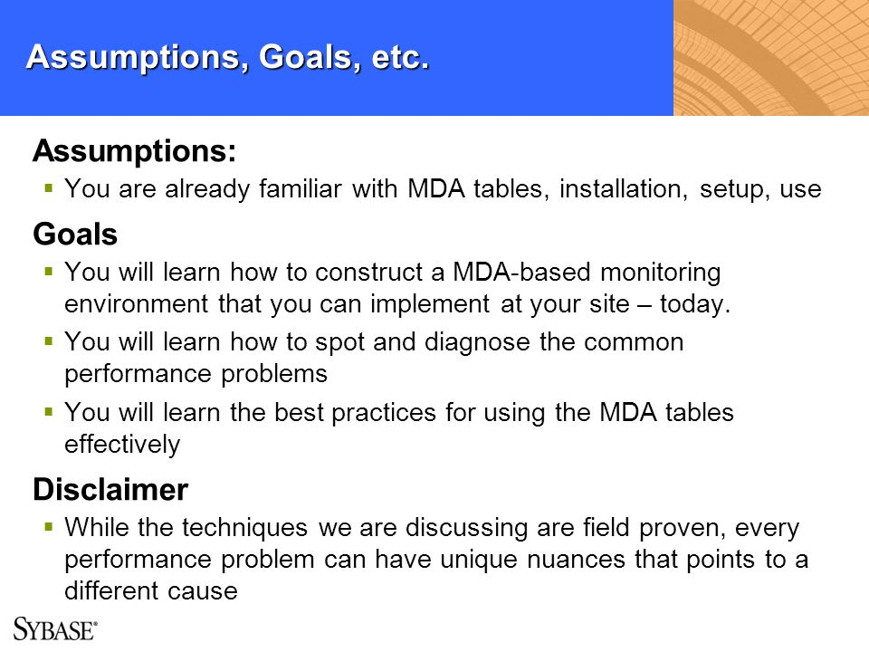 Assumptions, Goals, etc. Assumptions: You are already familiar with MDA tables, installation, setup, use Goals You will learn how to construct a MDA-b