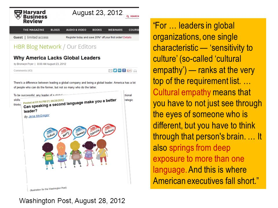 For … leaders in global organizations, one single characteristic sensitivity to culture (so-called cultural empathy) ranks at the very top of the requirement list.
