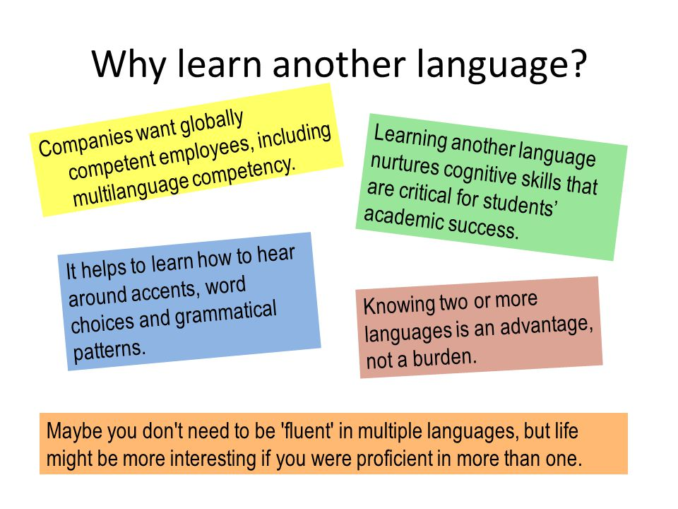Why learn another language.