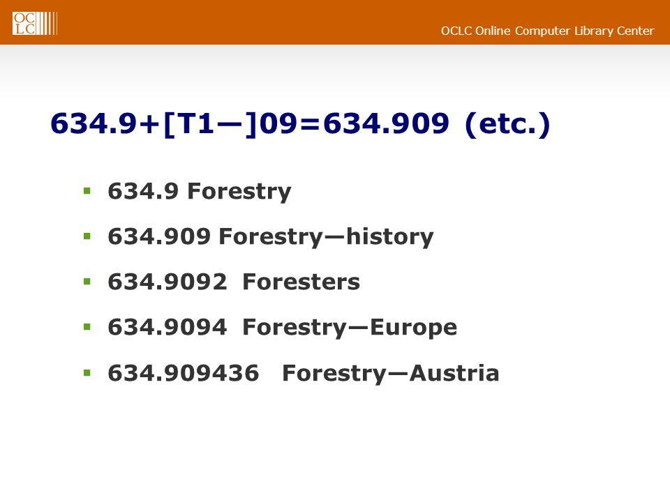 OCLC Online Computer Library Center 634.9+[T1]09=634.909 (etc.) 634.9 Forestry 634.909 Forestryhistory 634.9092 Foresters 634.9094 ForestryEurope 634.909436 ForestryAustria