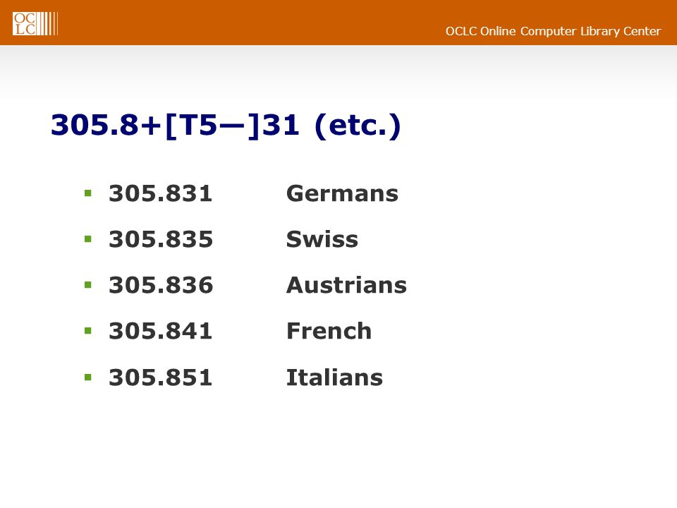 OCLC Online Computer Library Center 305.8+[T5]31 (etc.) 305.831Germans 305.835Swiss 305.836Austrians 305.841French 305.851Italians