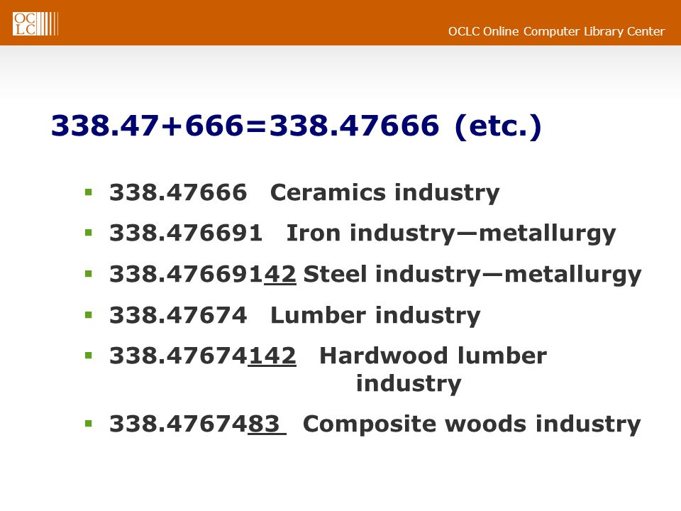 OCLC Online Computer Library Center 338.47+666=338.47666 (etc.) 338.47666 Ceramics industry 338.476691 Iron industrymetallurgy 338.47669142 Steel industrymetallurgy 338.47674 Lumber industry 338.47674142 Hardwood lumber industry 338.4767483 Composite woods industry