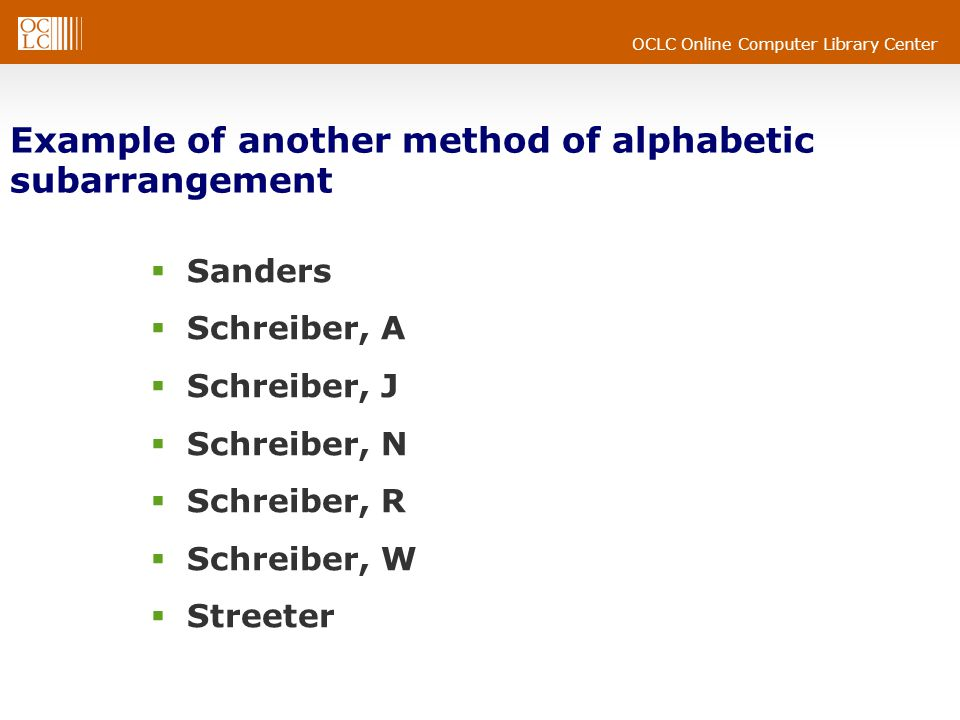 OCLC Online Computer Library Center Example of another method of alphabetic subarrangement Sanders Schreiber, A Schreiber, J Schreiber, N Schreiber, R Schreiber, W Streeter
