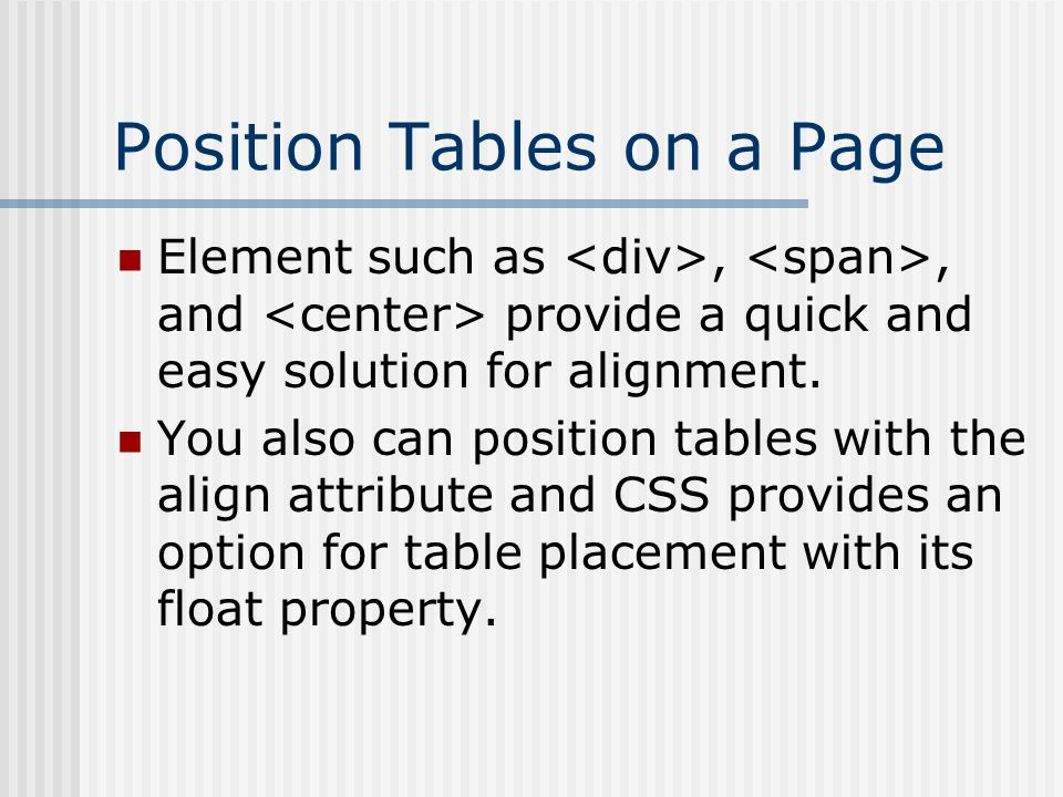 Position Tables on a Page Element such as,, and provide a quick and easy solution for alignment.