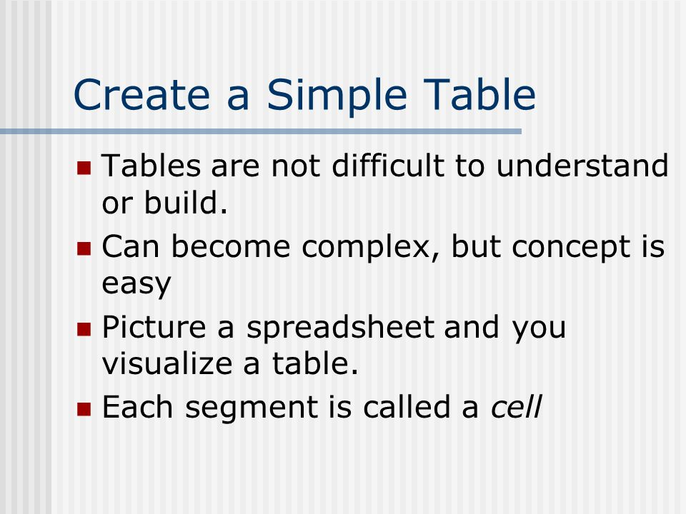 Open template.htm Save as: TABLES.HTM Copy the following code to create a simple three cell by three cell table.